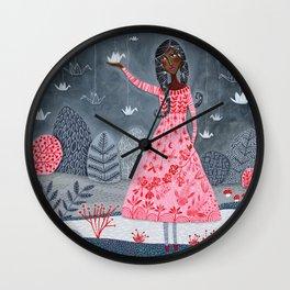 Paper cranes & koi Wall Clock