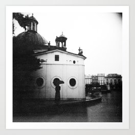 Rain in Krakow, Poland - Holga Black and White Art Print