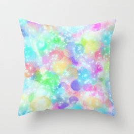 Rainbow Bubbles, Shining Stars and Color Magic Throw Pillow