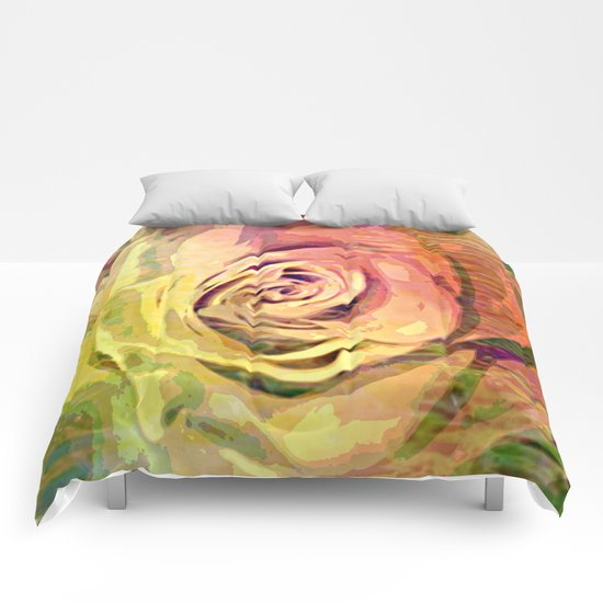 Vintage Painterly Autumn Rose Abstract Comforters