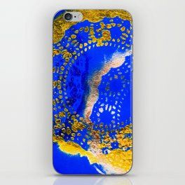 Royal Blue and Gold Abstract Lace Design iPhone Skin