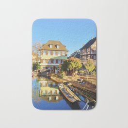 Colorful romantic city Colmar, called little Venice in France Bath Mat
