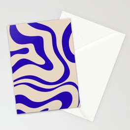 Modern Liquid Swirl Abstract Pattern Square in Indigo Blue Stationery Cards