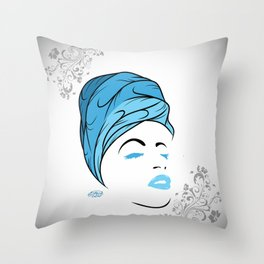 Lady Wrap (blue) Throw Pillow