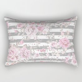 FLORAL PINK ROSES GRAY STRIPES Rectangular Pillow