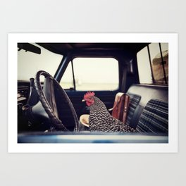 A Hen on a Sunday Drive Art Print