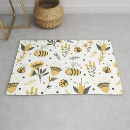 Bees and ladybugs. Gold and black Rug