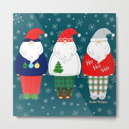Santas In PJs On Teal Metal Print