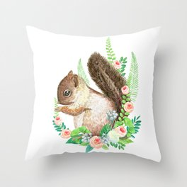 squirrel with flowers Throw Pillow