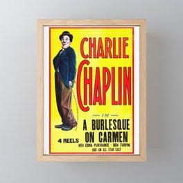 Charlie Chaplin - A Burlesque on Carmen, 1916 Vintage Poster for Wall Art, Prints, Poster, Tshirts, Men, Women, Kids Framed Mini Art Print