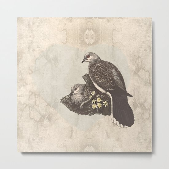 Turtle doves embrace Metal Print