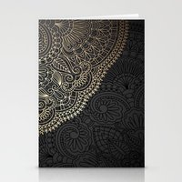 black and gold Stationery Cards featuring black & gold by Pink Berry Patterns