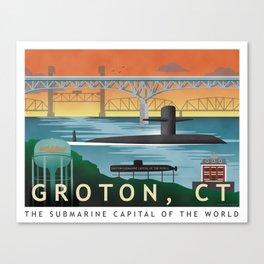 Groton, CT - Retro Submarine Travel Poster Canvas Print