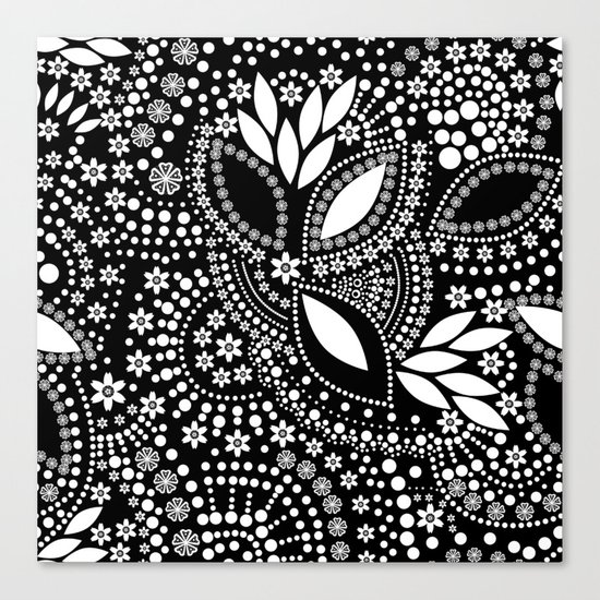 Placer of white beads on a black background . Canvas Print