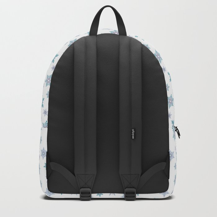 Fishnet blue snowflakes on a white background. Backpack