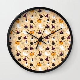 Halloween Twist - Pale Orange Wall Clock