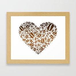 Coffee Bean Heart Framed Art Print