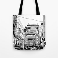 kobe Tote Bags featuring Yokohama - China town by parisian samurai studio