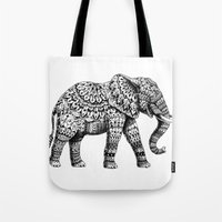 bioworkz Tote Bags featuring Ornate Elephant 3.0 by BIOWORKZ