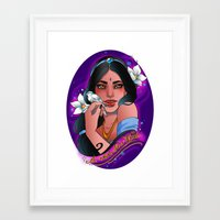 jasmine Framed Art Prints featuring Jasmine by Little Lost Forest