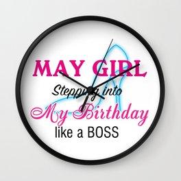May Girl Birthday Wall Clock
