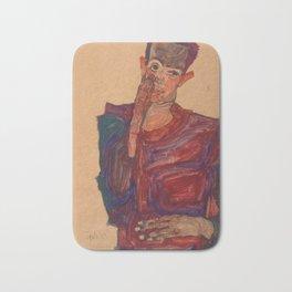 """Egon Schiele """"Self-Portrait with Eyelid Pulled Down"""" Bath Mat"""