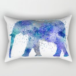 Blue Watercolor Elephant Rectangular Pillow