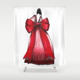 Red Bow Dress Shower Curtain