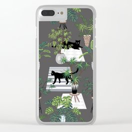 cats in the interior dark pattern Clear iPhone Case