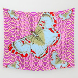 ORIGINAL ORIENTAL STYLE RED-WHITE EXOTIC BUTTERFLY PINK ART Wall Tapestry