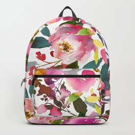 Pink coral forest green watercolor floral Backpack