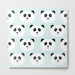 Panda Love- Mint Blue Metal Print