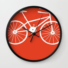 Red Bike by Friztin Wall Clock