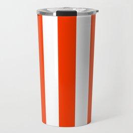 Coquelicot orange - solid color - white vertical lines pattern Travel Mug