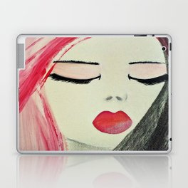 Shy Girl. Abstract Pink Girl. Pink Lips. Pink Hair. Jodilynpaintings. Eyelashes. Gift for All Girls. Laptop & iPad Skin