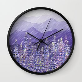 Purple Mountain Rain Wall Clock