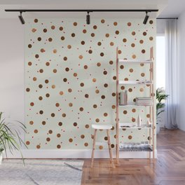 Copper Polka Dots With Red Hint Pattern Wall Mural