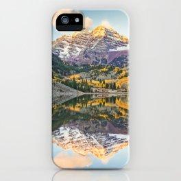 Maroon Bells Autumn Sunrise Aspen Colorado Mountain Fall Landscape iPhone Case