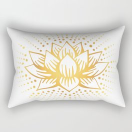 Golden Lotus Mandala Light Rectangular Pillow