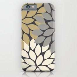 Bold Colorful Gold Ivory Charcoal Grey Dahlia Flower Burst Petals iPhone Case