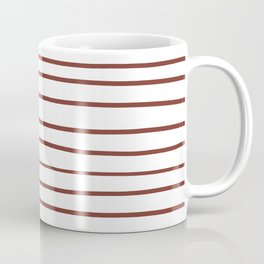 Pantone Burnt Henna Red 19-1540 Hand Drawn Horizontal Lines on White Coffee Mug