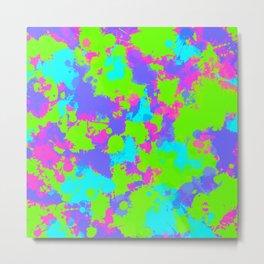 90s Neon Paint Splatter Metal Print