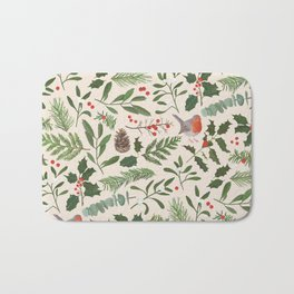 Robin in a Winter Garden Bath Mat