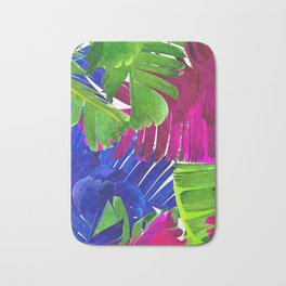 Colorful tropical leaves Bath Mat