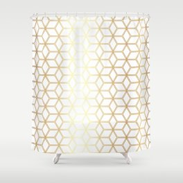 Geometric Hive Mind Pattern - Gold #298 Shower Curtain
