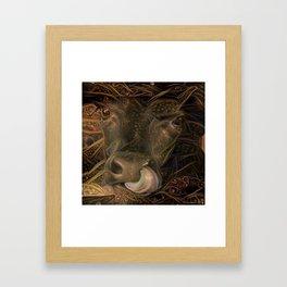 Trippy Calf Framed Art Print