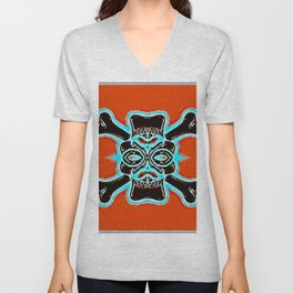 black vintage skull and bone graffiti drawing with blue and red background Unisex V-Neck