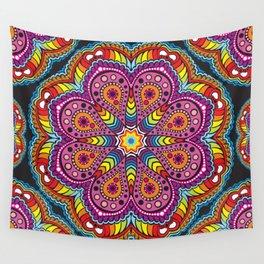 rastafarian mandala in rainbow colors Wall Tapestry