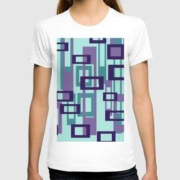 Geometric rectangles pattern violet T-shirt