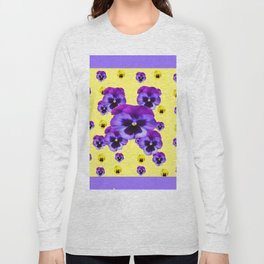 LILAC FRAMED YELLOW & PURPLE PANSY GARDEN FLOWERS Long Sleeve T-shirt